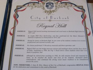 Regnal Hall citation from the city of Burbank.