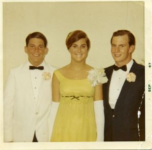 "1967 Prom photo of ""Potsie"" (Anson Williams) with Karen Walker '68 and Scott Roberts '67."