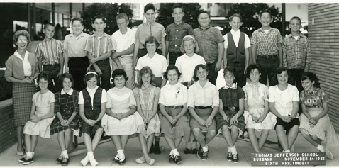 Thomas Jefferson School 6th Grade. Darlene Carothers is on the far right, first row.