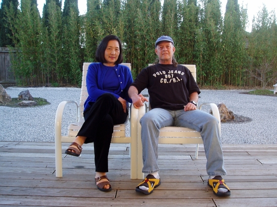 Crilly Butler and his wife, Takami, relax in their zen garden.