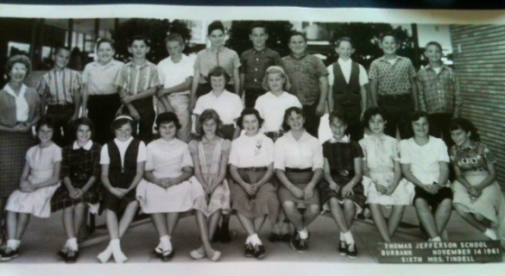 6th Grade Class from Thomas Jefferson School. Darlene Carothers is on the far right end, first row.