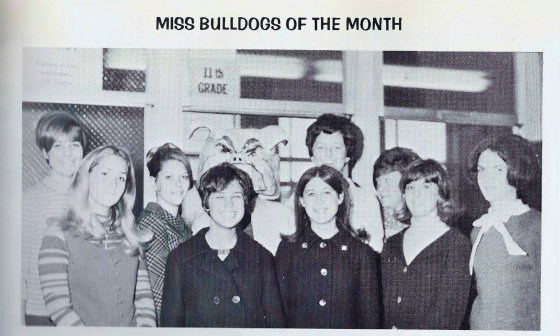 Miss Bulldogs of the Month, 1968. Laura Ziskin is second from the left.