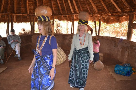 Merrily Thorne (right) says this is the way women carry water in an Iraqwi village in Tanzania.