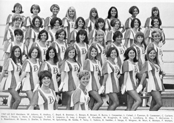 Kathi Wagner is right in the front row of this Drill Team photo.