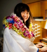 Here I am, bedecked in leis, last December 2012.