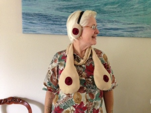 Boobie scarf and earmuffs
