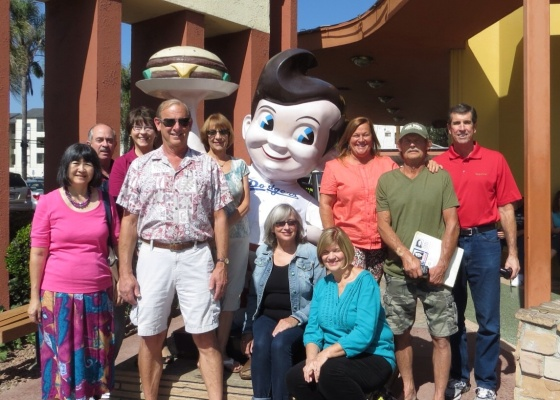 "Pre-reunion lunch at Bob's Big Boy. L-R: Kathy Au Crosier, John Wray, Deanna Dugger, Sallie Shelton Thomas, Jim Ranshaw, Stephanie Llewellyn, Patty ""Trish"" Molloy Vosper, Annette Dinolfo Bennett, Tom Bennett, Craig Weber"