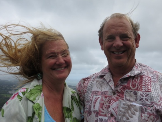 Jim and Patti Ranshaw at the Pali Lookout. Wow, it's windy up there!