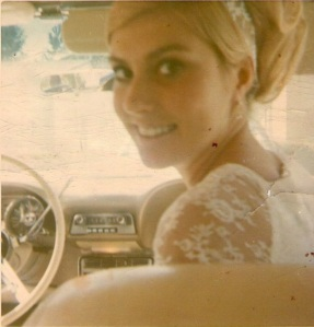 Cathy Carlson on her wedding day, 1969.