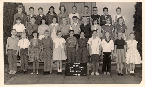 Emerson School 5th grade. I can recognize not only Steve Irey, Jill Gipson, but also Sally Bartley in the back row.