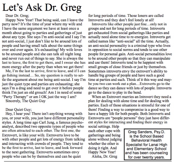 Dr. Greg Sanders' latest column