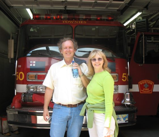 Becky and Ray at a firehouse in Boston, MA.